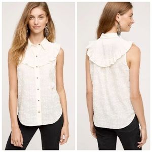 Anthro Maeve Windflower Floral Embroidered Blouse